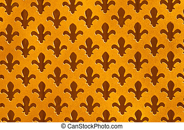 Fleur De Lys Antique Background,Worn Gold Speckled Cut Outs