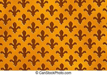 Fleur De Lys Antique Background,Worn Gold Speckled Cut Outs