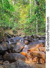 Evergreen forest waterfall in Chanthaburi, Thailand
