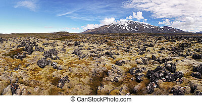 Volcano in West Iceland with lava field - Snaefellsjokull