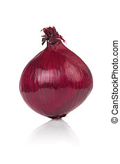 Whole Red Onion - A whole red onion isolated on a white...