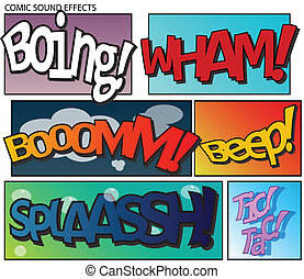 Comic sound effects - Set of six sound effects in comic...