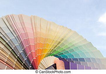 color palette samples on blue sky background - pastel warm...