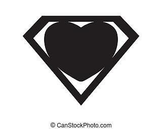 Superlove black - a big black heart shaped like a superhero...