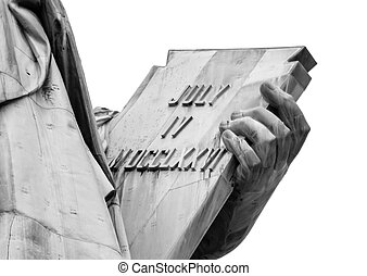 Statue of Liberty in Black and Whit - Closeup of tablet of...