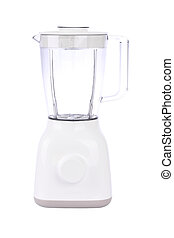 Front of empty electric blender on white background.