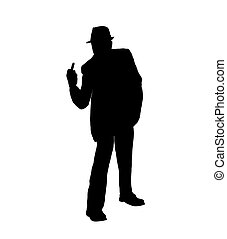 Silhouette of a Man Flipping the Bi - Silhouette of a man in...