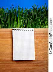 Writing Pad on the Board - Writing Pad and Fresh Grass on...