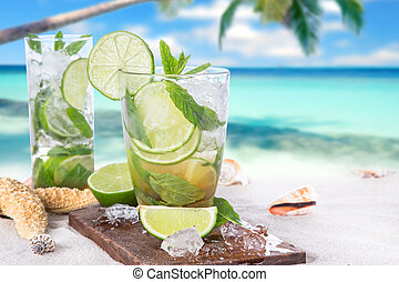 fresh mojito drink - Fresh mojito drink on beach