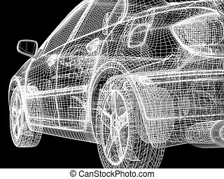 car project - High resolution image car on a black...