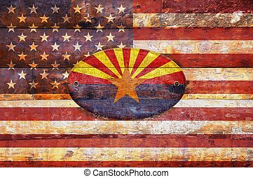 Wooden flag of Arizona. - Illustration with a wooden flag of...