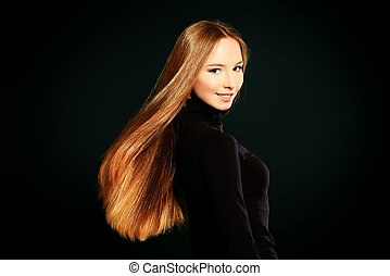 hair care - Happy beautiful girl with magnificent long hair...