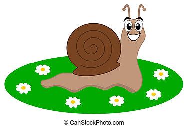 a happy snail in a garden