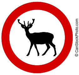 a deer in a traffic sign