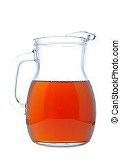 Ice tea pitcher with soft shadow on white background