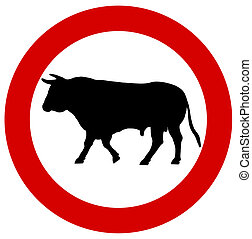 a bull in a traffic sign