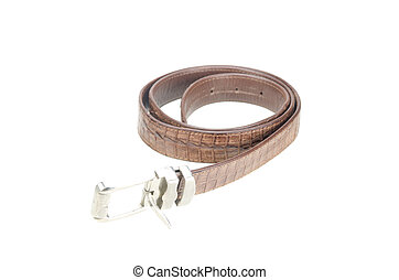 vintage belt made from crocodile skin isolated on white with clipping path