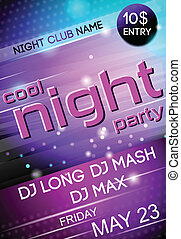 Night party poster - Nightclub disco party Friday night...