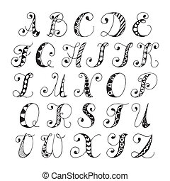 Sketch alphabet font - Sketch hand drawn alphabet black and...