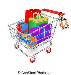 compras, Lleno, emblema, carrito