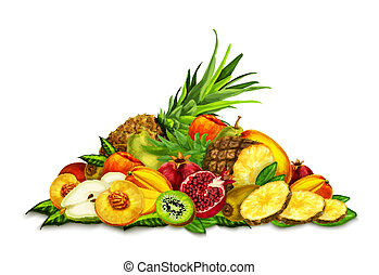 Tropical Fruits Set Still Life - Natural organic tropical...