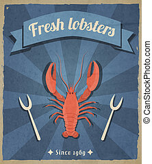 Lobster retro poster - Fresh lobster retro vintage...