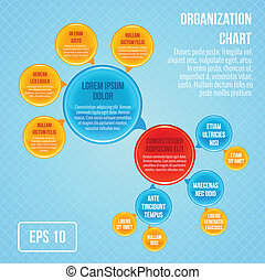 Organizational chart infographic business bubbles circle...