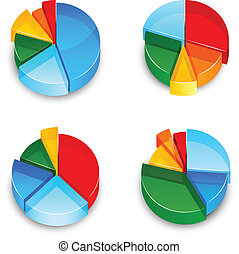 Pie Chart 3d Icons Set - Colored abstract 3d pie chart...