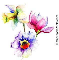 Stylized Summer flowers
