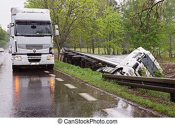 Truck accident. The driver probably fell asleep at the...