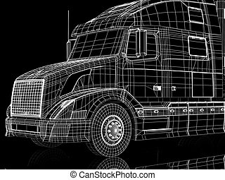Trailer cabin - High resolution image lorry on a black...