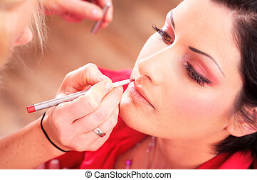 makeup and beauty treatment - Close up of beautician...