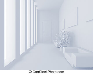 White reception - High resolution image interior 3d...
