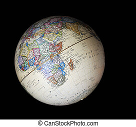 Globe - Isolated earth globe on black background
