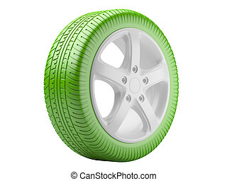 Green car wheel. ecological concept isolated on a white background. 3d illustration high resolution