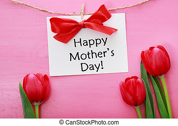Mothers day card with red tulips - Mothers day card hanging...