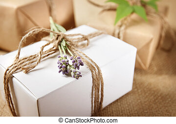Handmade Gift Box with Lavender Sprig - Handmade gift box...