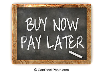 Buy Now Pay Later Blackboard - A Colourful 3d Render Buy Now...