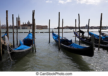Venice postcard - Beautiful view of venice traditional boats