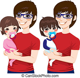 Japanese Father With Kids