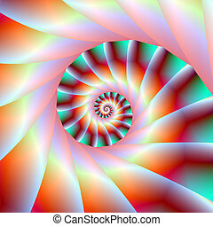 Red Turquoise and Pink Spiral Steps - Digital abstract...