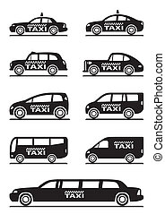 Different types of taxi cars - vector illustration