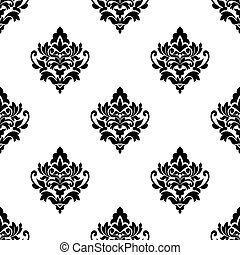 Black and white seamless arabesque pattern with repeat...