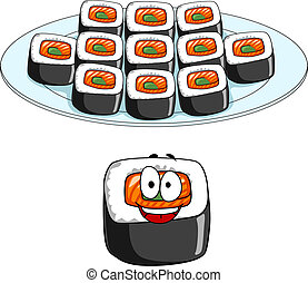 Set of cartoon sushi cons - Set of cartoon sushi icons with...