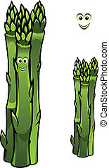 Bunch of fresh green asparagus spears with a happy smiling...