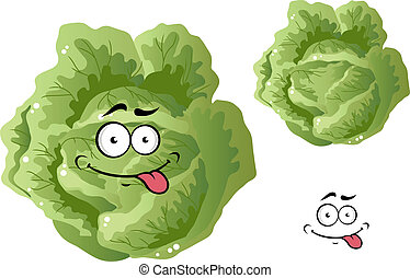Green funny cabbage vegetable in cartoon style isoated on...