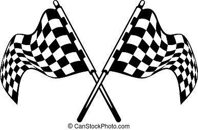 Waving crossed black and white checkered flags used in motor...