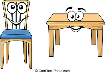 Cute cartoon wooden furniture with a happy smiling table and...