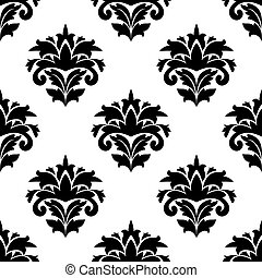 Black and white damask style fabric pattern