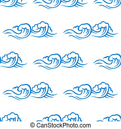 Seamless pattern of cresting ocean waves - Seamless pattern...